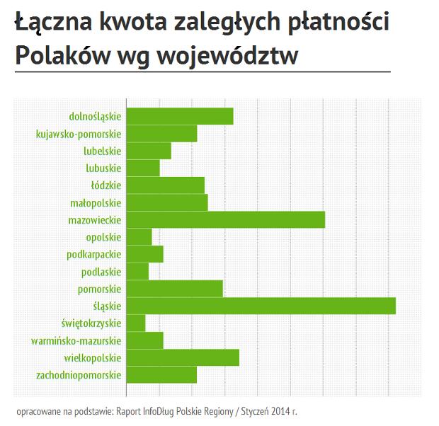 łączna kwota zaległych płatności Polaków